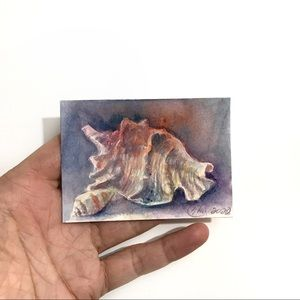 ACEO Original Painting sea shell ocean artwork